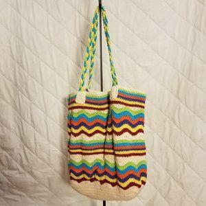 Multi-Colored Chevron & Striped Hobo Bag/Satchel